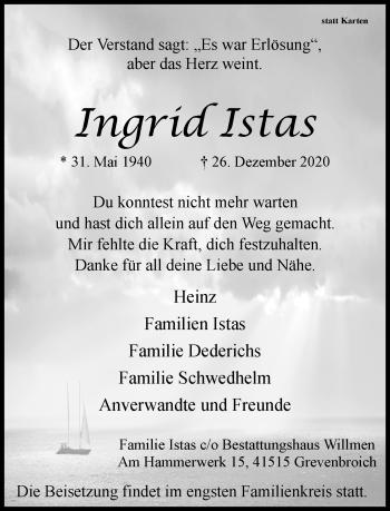 Traueranzeige von Ingrid Istas von Rheinische Post