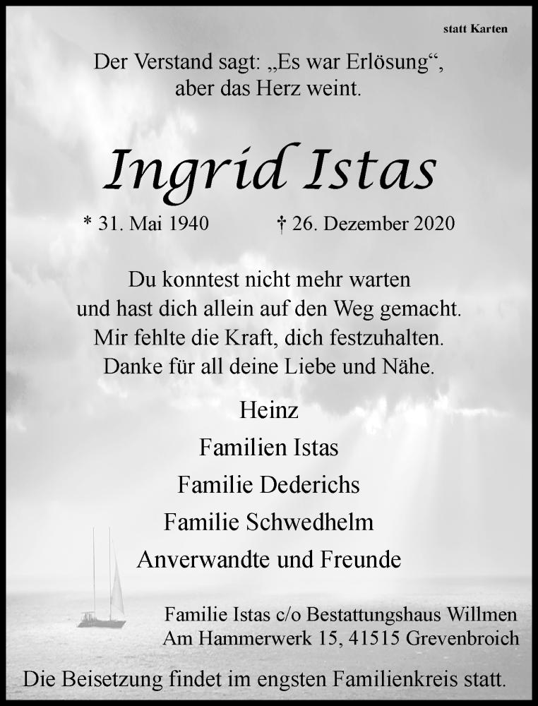 Traueranzeige für Ingrid Istas vom 02.01.2021 aus Rheinische Post