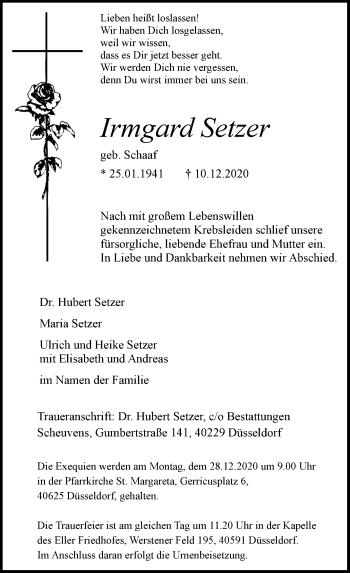 Traueranzeige von Irmgard Setzer von Rheinische Post