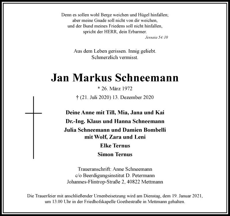 Traueranzeige für Jan Markus Schneemann vom 19.12.2020 aus Rheinische Post