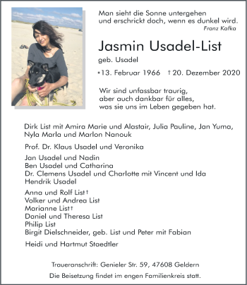 Traueranzeige von Jasmin Usadel-List von Rheinische Post
