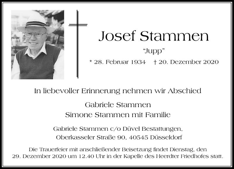Traueranzeige für Josef Stammen vom 23.12.2020 aus Rheinische Post