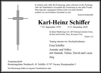 Traueranzeige von Karl-Heinz Schiffer von Rheinische Post