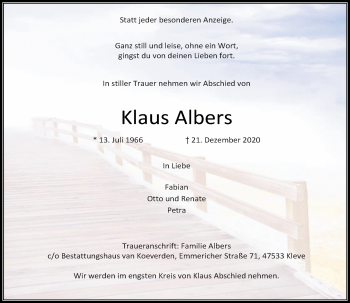 Traueranzeige von Klaus Albers von Rheinische Post