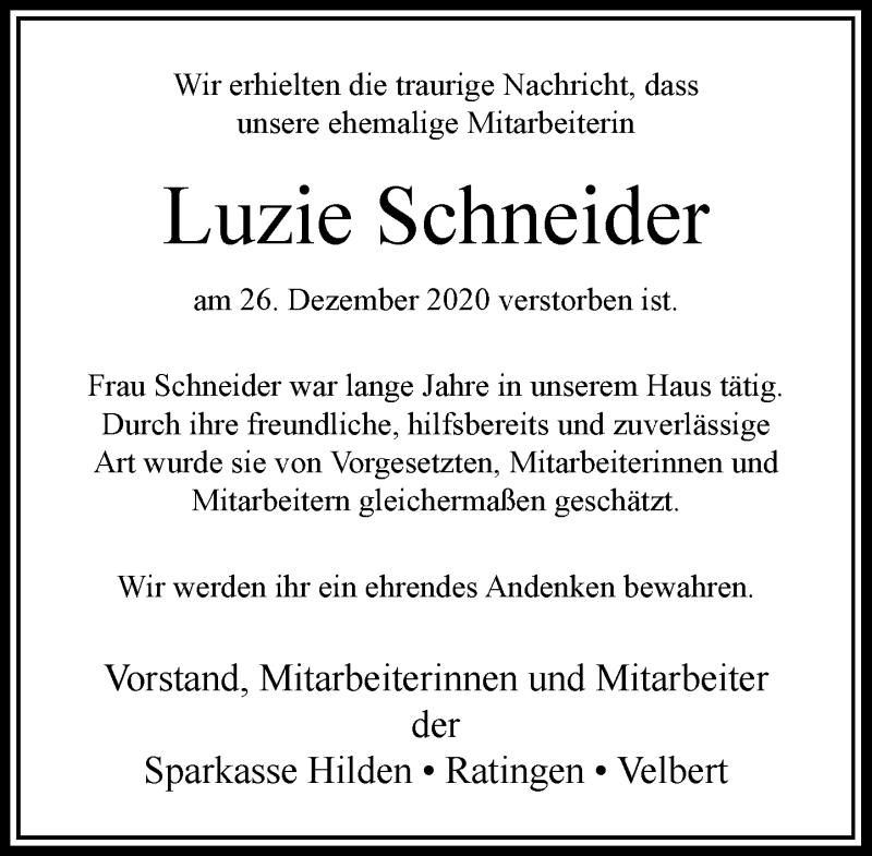 Traueranzeige für Luzie Schneider vom 30.12.2020 aus Rheinische Post