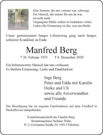 Traueranzeige von Manfred Berg von Rheinische Post