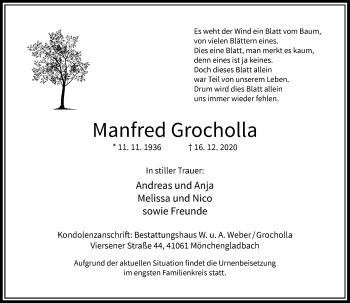 Traueranzeige von Manfred Grocholla von Rheinische Post