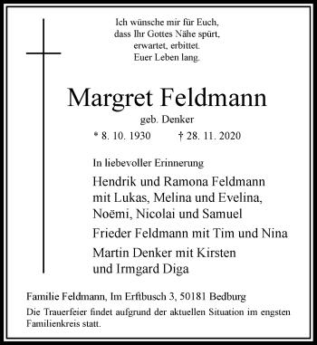 Traueranzeige von Margret Feldmann von Rheinische Post