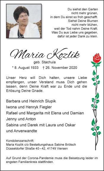Traueranzeige von Maria Kozlik von Rheinische Post