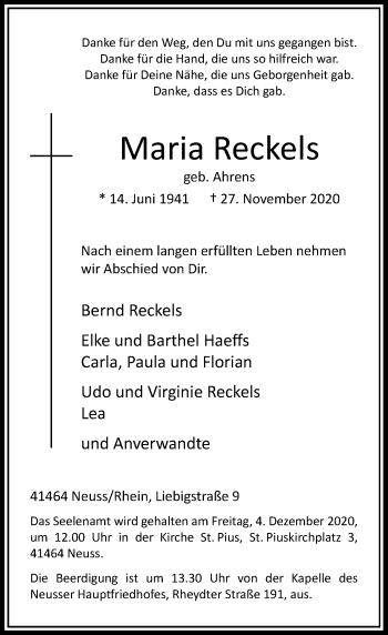 Traueranzeige von Maria Reckels von Rheinische Post