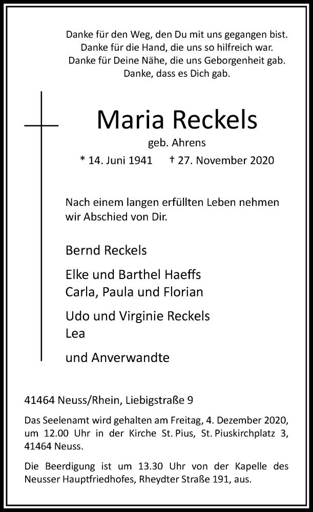 Traueranzeige für Maria Reckels vom 02.12.2020 aus Rheinische Post