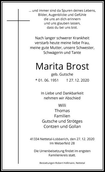 Traueranzeige von Marita Brost von Rheinische Post