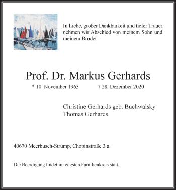 Traueranzeige von Markus Gerhards von Rheinische Post
