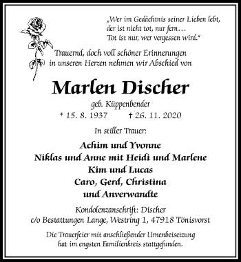 Traueranzeige von Marlen Discher von Rheinische Post