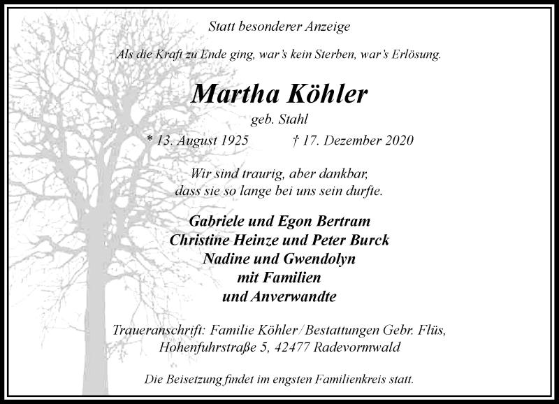 Traueranzeige für Martha Köhler vom 28.12.2020 aus Rheinische Post