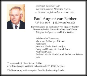 Traueranzeige von Paul August van Bebber von Rheinische Post