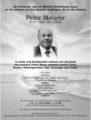 Traueranzeige von Peter Meurer von Rheinische Post