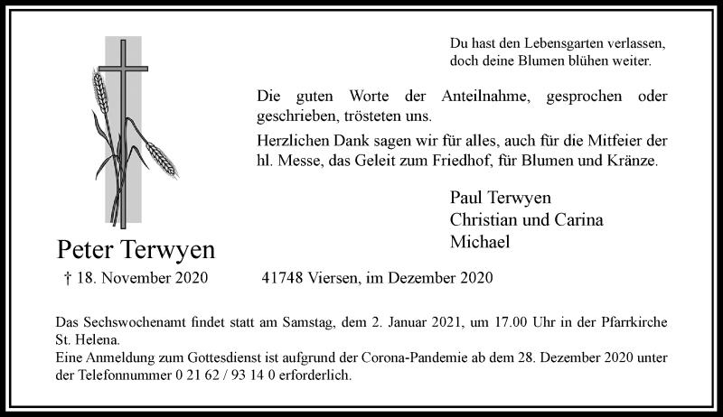 Traueranzeige für Peter Terwyen vom 19.12.2020 aus Rheinische Post