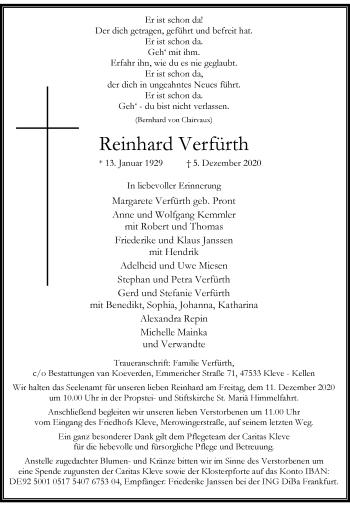 Traueranzeige von Reinhard Verfürth von Rheinische Post