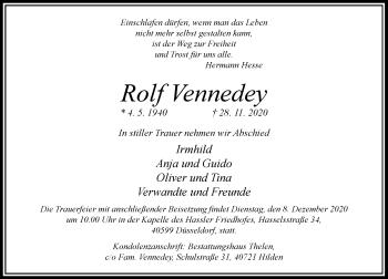 Traueranzeige von Rolf Vennedey von Rheinische Post