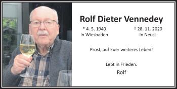 Traueranzeige von Rolf Dieter Vennedey von Rheinische Post