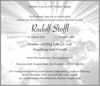 Traueranzeige von Rudolf Stoffl von Rheinische Post