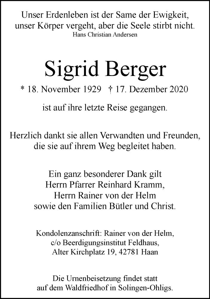 Traueranzeige für Sigrid Berger vom 02.01.2021 aus Rheinische Post