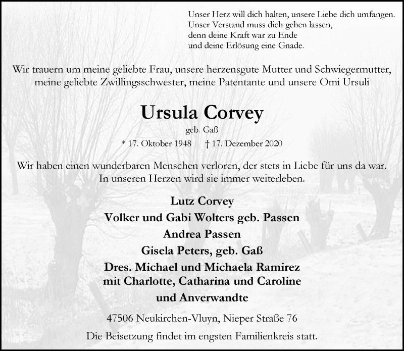 Traueranzeige für Ursula Corvey vom 30.12.2020 aus Rheinische Post