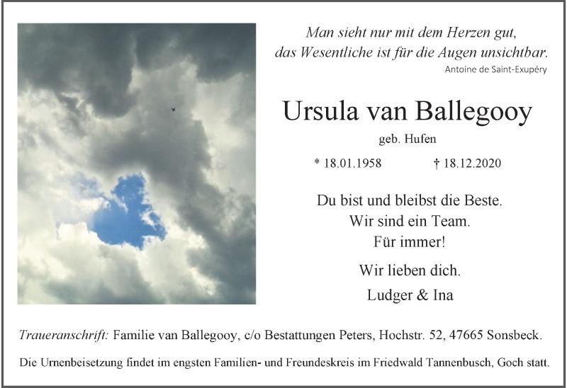 Traueranzeige für Ursula van Ballegooy vom 28.12.2020 aus Rheinische Post