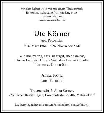 Traueranzeige von Ute Körner von Rheinische Post