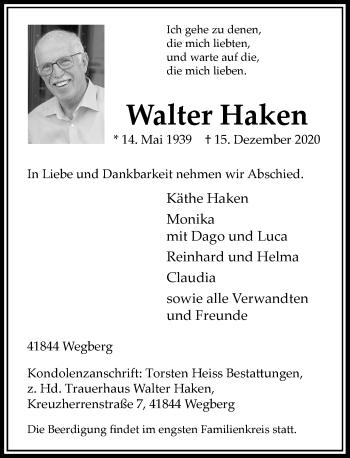 Traueranzeige von Walter Haken von Rheinische Post