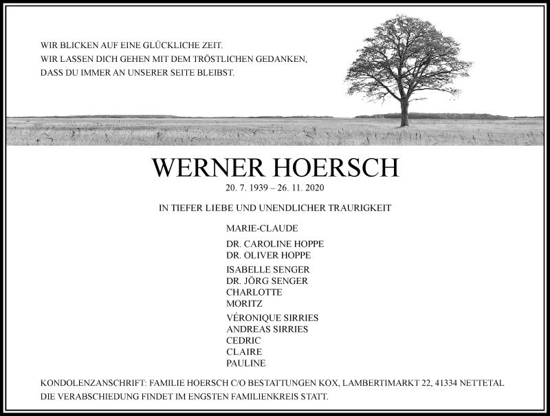 Traueranzeige für Werner Hoersch vom 02.12.2020 aus Rheinische Post