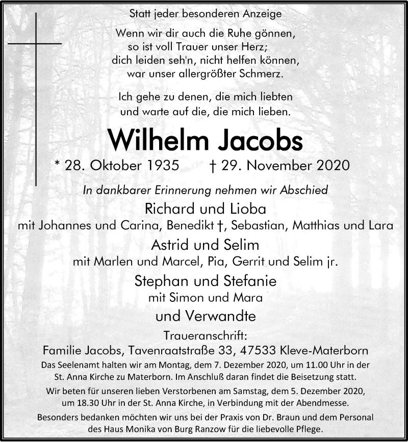 Traueranzeige für Wilhelm Jacobs vom 03.12.2020 aus Rheinische Post