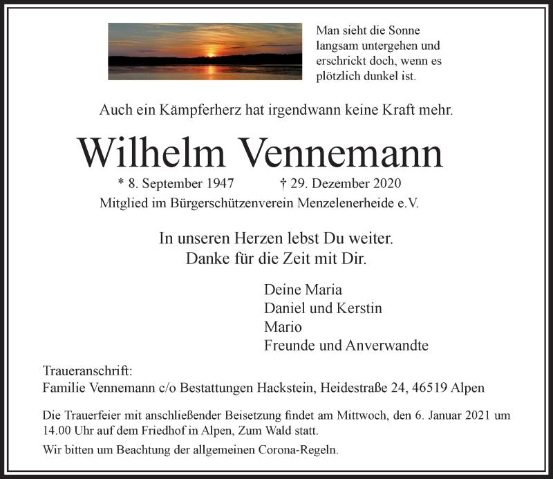 Traueranzeige für Wilhelm Vennemann vom 02.01.2021 aus Rheinische Post