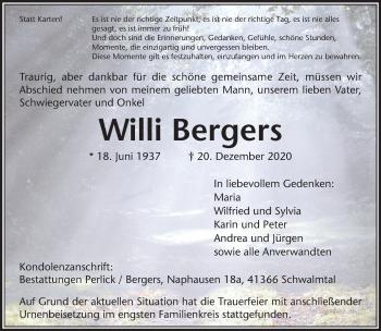 Traueranzeige von Willi Bergers von Rheinische Post