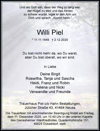 Traueranzeige von Willi Piel von Rheinische Post