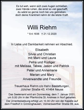 Traueranzeige von Willi Riehm von Rheinische Post