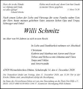 Traueranzeige von Willi Schmitz von Rheinische Post