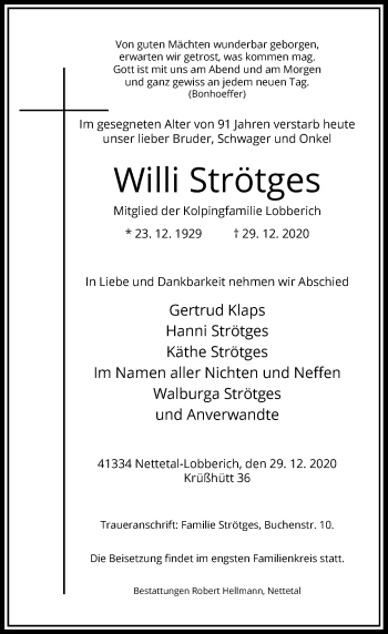 Traueranzeige von Willi Strötges von Rheinische Post