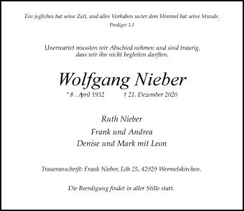 Traueranzeige von Wolfgang Nieber von Rheinische Post