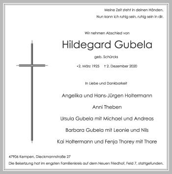 Traueranzeige von Hildegard Gubela von Rheinische Post