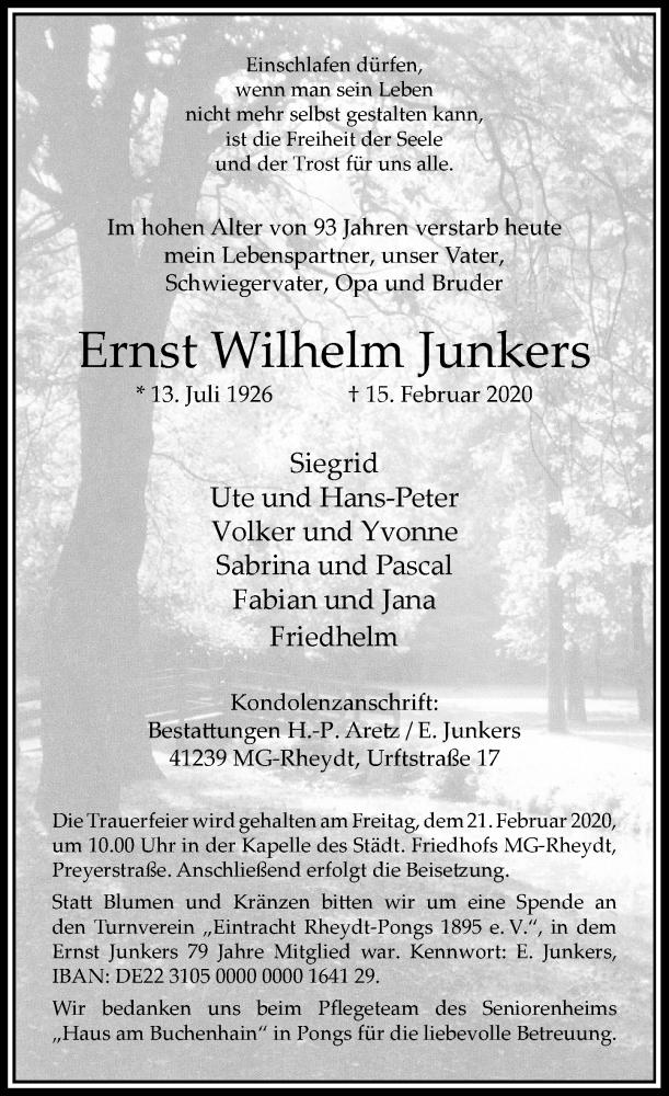 Anzeige von  Ernst Wilhelm Junkers