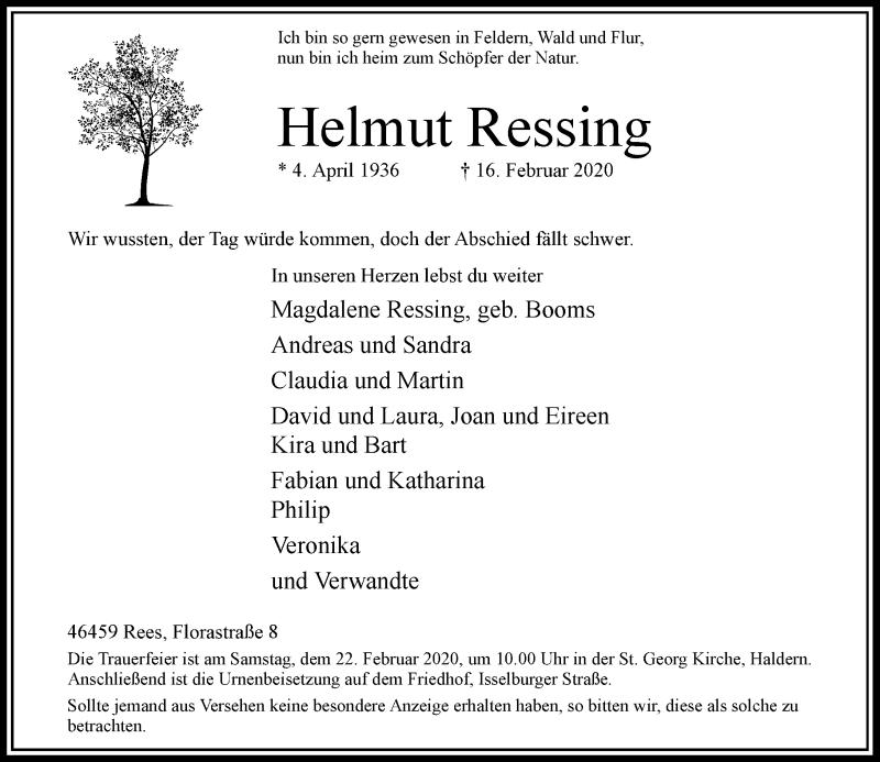 Anzeige von  Helmut Ressing