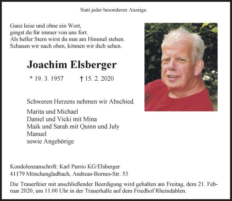 Anzeige von  Joachim Elsberger