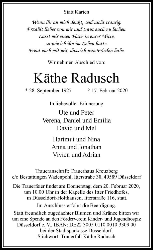 Anzeige von  Käthe Radusch