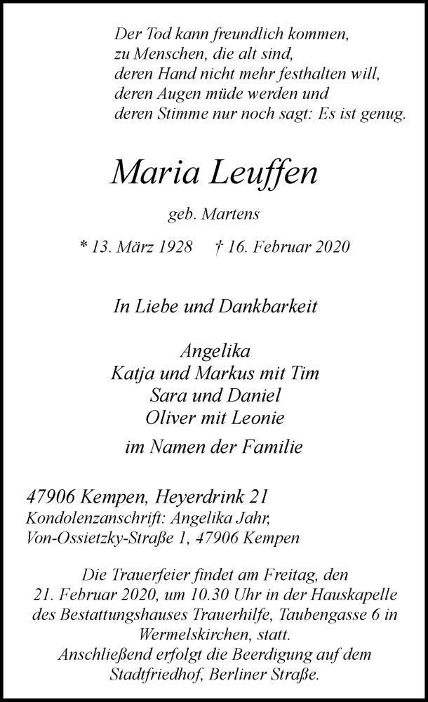 Anzeige von  Maria Leuffen