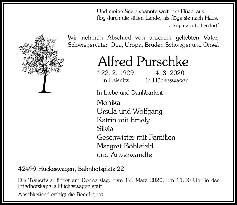 Anzeige von  Alfred Purschke