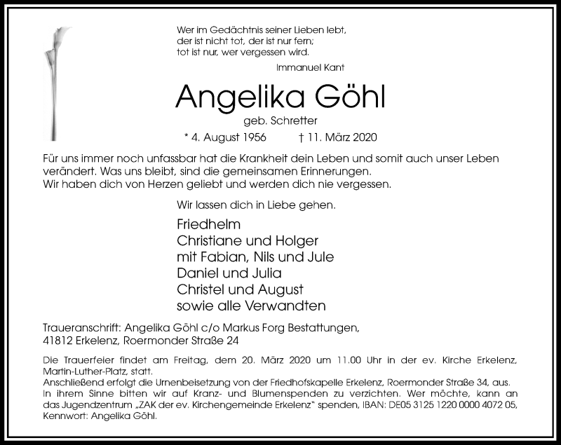 Anzeige von  Angelika Göhl