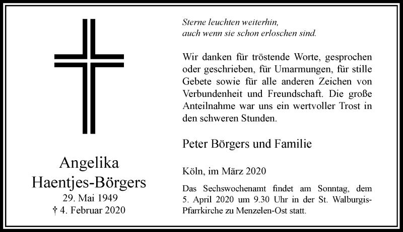 Anzeige von  Angelika Haentjes-Börgers