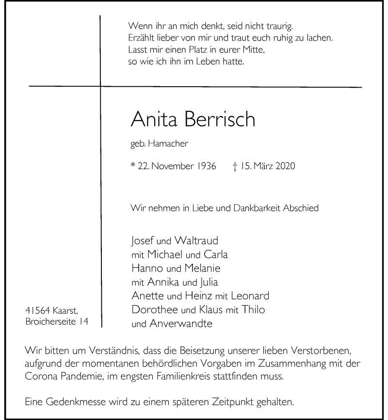 Traueranzeige für Anita Berrisch vom 18.03.2020 aus Rheinische Post